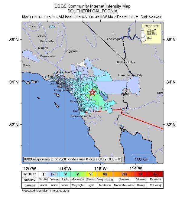 Modest quake shakes wide area of S. California
