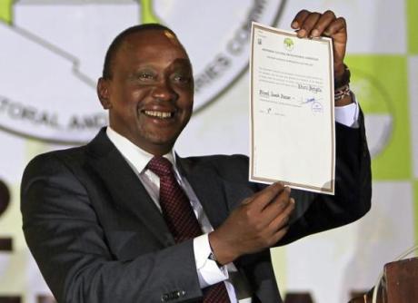 Kenyatta declared winner of Kenya's presidential vote