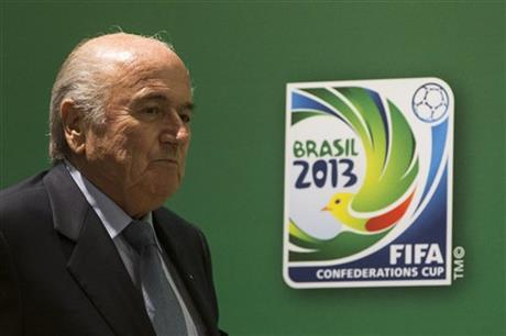 FIFA President Joseph S. Blatter arrives to a press conference in Rio de Janeiro, Brazil, Friday, June 28, 2013. The final of the soccer Confederations Cup will be played by Spain and Brazil on Sunday, June 30, 2013 in the Maracana stadium in Rio. (AP Photo/Felipe Dana)