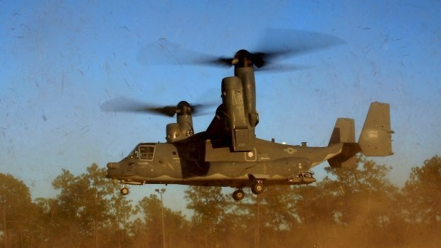"In this photo taken Jan. 26, 2011 and released by the U.S. Air Force, a CV-22 Osprey aircraft of the 8th Special Operations Squadron (SOS) ""Black Birds"" comes in for a landing during a local training mission at Hurlburt Field, Florida, USA. Gunfire hit three U.S. military CV-22 Osprey aircraft Saturday, Dec. 21, 2013 trying to evacuate American citizens in Bor, the capital of the remote region of Jonglei state in South Sudan. (AP /US Air Force, Master Sgt. Jeremy T. Lock) Read more: http://www.cp24.com/world/3-u-s-military-aircraft-u-n-chopper-hit-by-gunfire-in-south-sudan-"