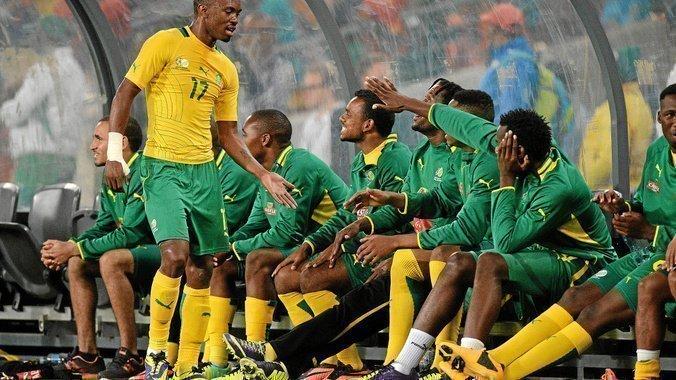Bafana's Bernard Parker gets high fives during a friendly match against Spain at Soccer City, Johannesburg. (Duif du Toit, Gallo Images)