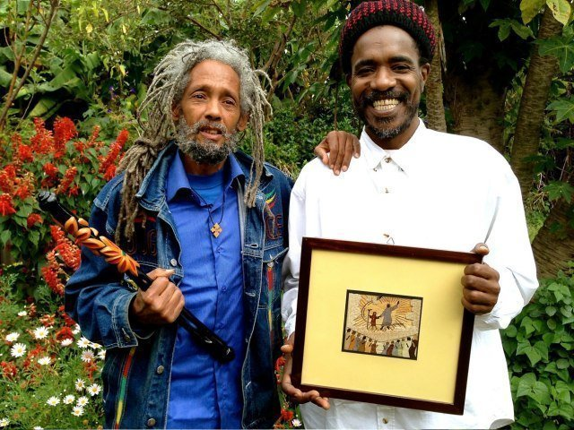 """From left, Ras Hailu Tefari and musician Sydney Salmon. Tefari is from the Caribbean island of St. Vincent and runs the """"the world's only banana-leaf art gallery"""" in Shashemane."""