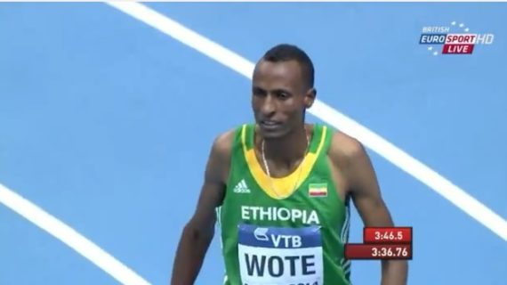 Aman Wote -Men's 1500m Heat 3 IAAF World Indoor Champs Sopot 2014