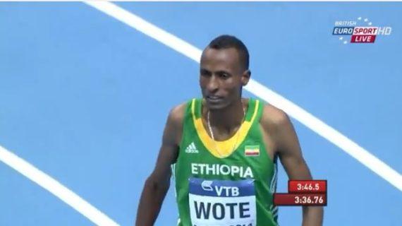 Aman Wote -Men's 1500m Heat 3 IAAF World Indoor Champs Sopot 2014