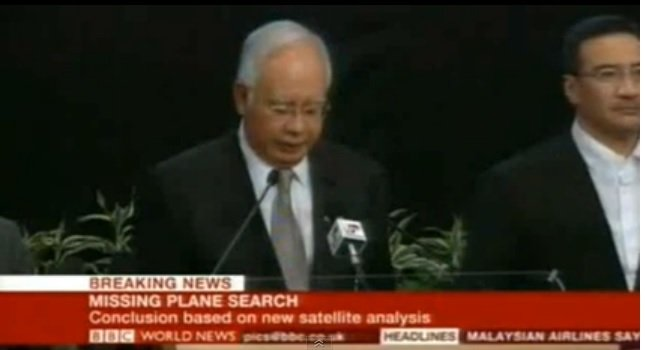 Video : Malaysian PM Announces Flight MH370 Crashed into Indian Ocean