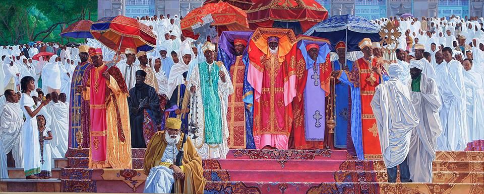Intriguing piece of Art work by renowned Ethiopian painter Mezgebu Tesema.