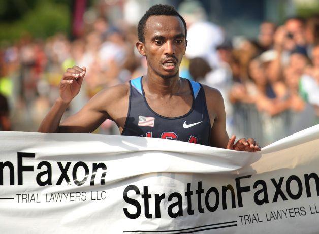 Ethiopian Wegi Habtamu Arga breaks the tape at 1:05:31 to win the Fairfield Half Marathon at Jennings Beach in Fairfield, Conn. on Sunday, June 22, 2014. Photo: Brian A. Pounds