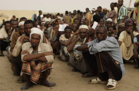 Ethiopian migrants wait to be evacuated at a departure centre in the western Yemeni town of Haradh, on the border with Saudi Arabia and Yemen, on Thursday/ Gulf News
