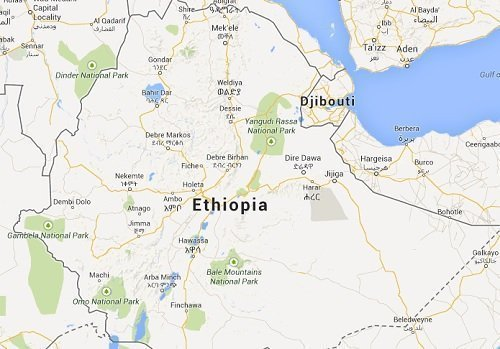 Google map of Ethiopia