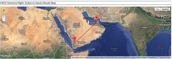 Yemenia Flight Number 853 Route  Source: www.airportia.com