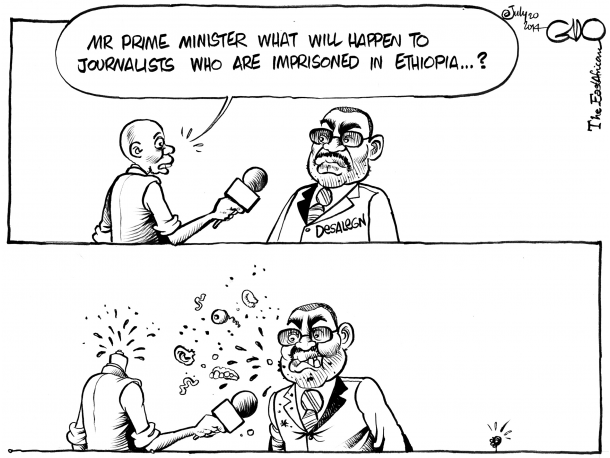 'Freedom of the press in Ethiopia' Gado Cartoons www.gadocartoons.com