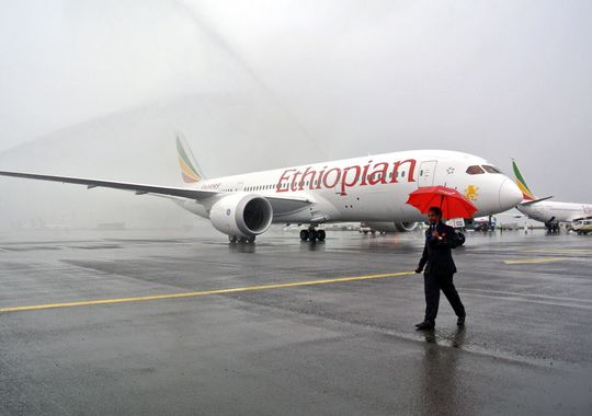 One of Ethiopian Airlines' Boeing 787 Dreamliners is hosed down on arrival in Addis Ababa on Aug. 17, 2012.(Photo: JENNY VAUGHAN AFP/Getty Images) Source: USA Today