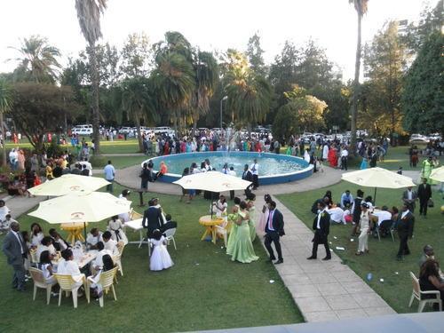 The wedding-filled garden at Ghion (Photo: Lara Naaman)