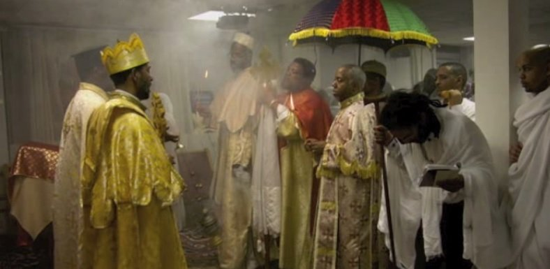 Ethiopian Orthodox Church priest doing liturgy