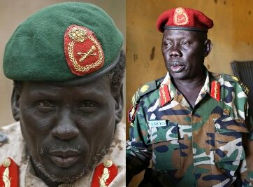 SPLA Maj. Gen. Marial Chanuong Yol (R), along with rebel commander Peter Gadet, were hit with US sanctions in May for their role in the South Sudan conflict (Photo: Reuturs/Goran Tomasevic)