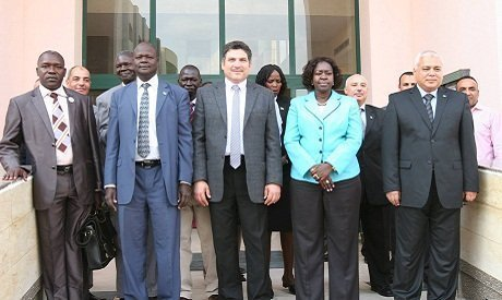 Egypt's Minister of Irrigation, Hossam Moghazi, photographed with his South Sudanese counterpart, Jemma Nunu Kumba, on October 27, 2014 (Photo: Courtesy of the Ministry of Irrigation's Facebook page) /Ahram Online