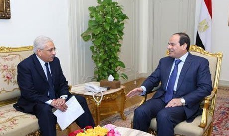 Egypt's President Abdel Fattah El-Sisi speaks with Al-Ahram Editor-in-chief Mohamed Abdel Hady during an interview with Al-Ahram (Photo: Al-Ahram)
