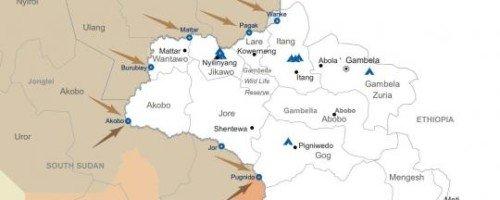 Map: Refugee flows into Gambella, Ethiopia Source - Radio Tamazuj