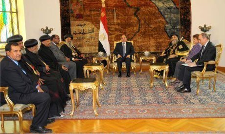 Meeting between El-Sisi and Patriarch Mathias I, the patriarch of the Ethiopian Orthodox Church at the Ittihadiya presidential palace in Cairo , on Monday 12 January 2015 (Photo: courtesy of The Coptic Orthodox Church Spokesperson facebook page)