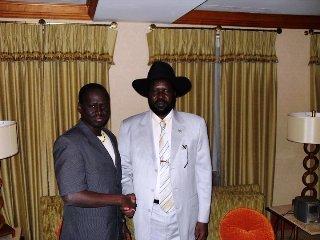 Gordon Buay Malek (L) with South Sudan President, Salva Kiir (Laco Lomayat)