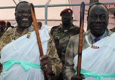 SPLM in Opposition leader Riek Machar Teny and his deputy, General Afred Ladu Gore, in Pagak on 9 December 2014 (ST)