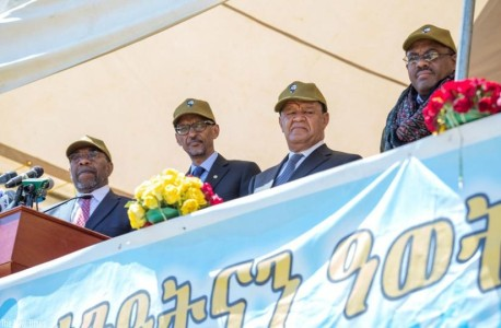 L-R; Uganda's Prime Minister Ruhakana Rugunda, President Kagame, Ethiopian President Mulatu Teshome, and Prime Minister Hailemariam Desalegn at an event to mark the 40th anniversary of the Tigray People's Liberation Front. (Village Urugwiro)  Via- The New Times Africa