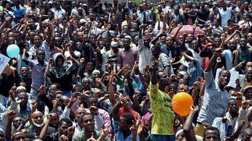 Thousands of Ethiopian opposition activists demonstrate in Addis Ababa on June 2, 2013. The demonstrations were organized by the newly formed Blue Party opposition group. AFP/Getty Images  via NPR