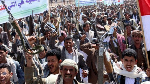 Followers of the Houthi movement demonstrate to show support to the movement in Yemen's northwestern city of Saada March 26, 2015. (Reuters/Naiyf Rahma)