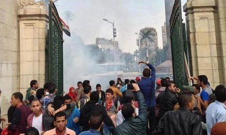 File photo of previous Cairo University clashes between security forces and protesters (Photo: Al-Ahram)