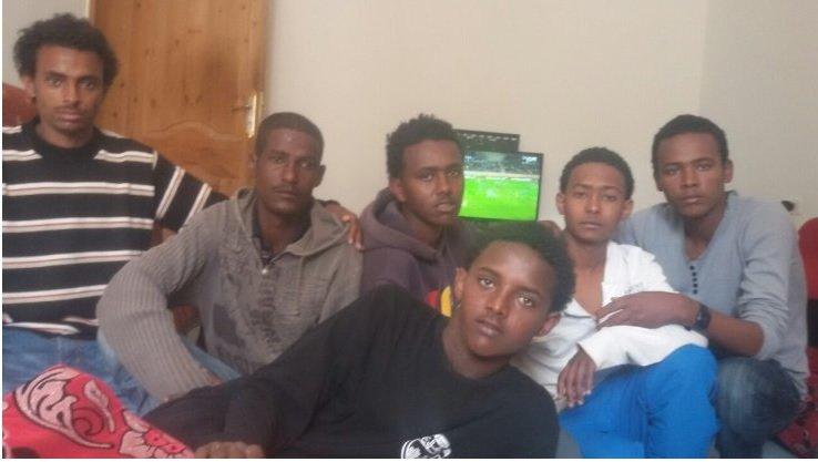 (From left) Abraham Naizghi, Yasin Abdulaziz, Yohannes Mebrahtu, Nael Goitom, Thomas Ghiwet and Aman Shishay escaped IS in Libya after one month of captivity Source - IBTimes