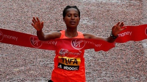 Tigist Tufa won london marathon - source BBC co uk