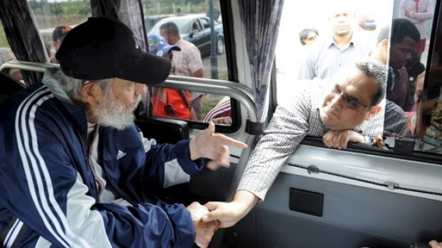 Former Cuban President Fidel Castro, 88, appeared in public for the first time in more than a year on Monday, greeting a visiting delegation of Venezuelans to show he is alive and well, official media reported on Saturday. (Estudios Revolucion/Cubadebate/Reuters)