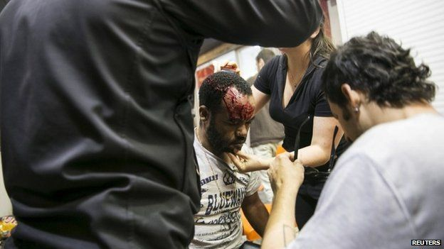 Many people, including 20 police officers, were hurt in the demonstration