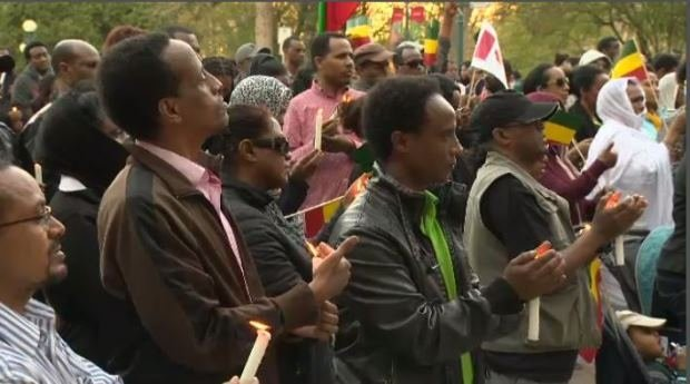 Dozens mourned the deaths of 28 Ethiopian Christians.