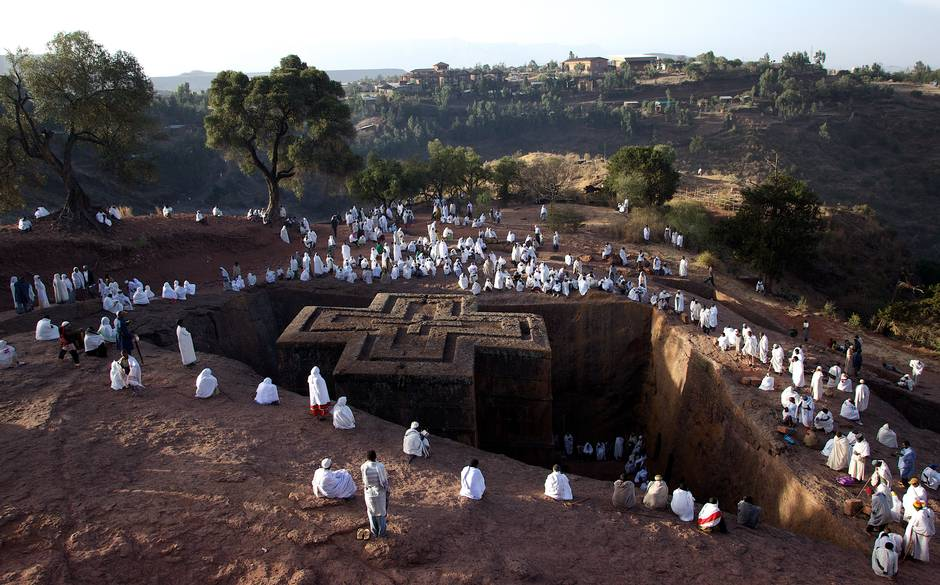 Hewn from rock, the sunken Church of St George in Lalibela Picture: Alamy