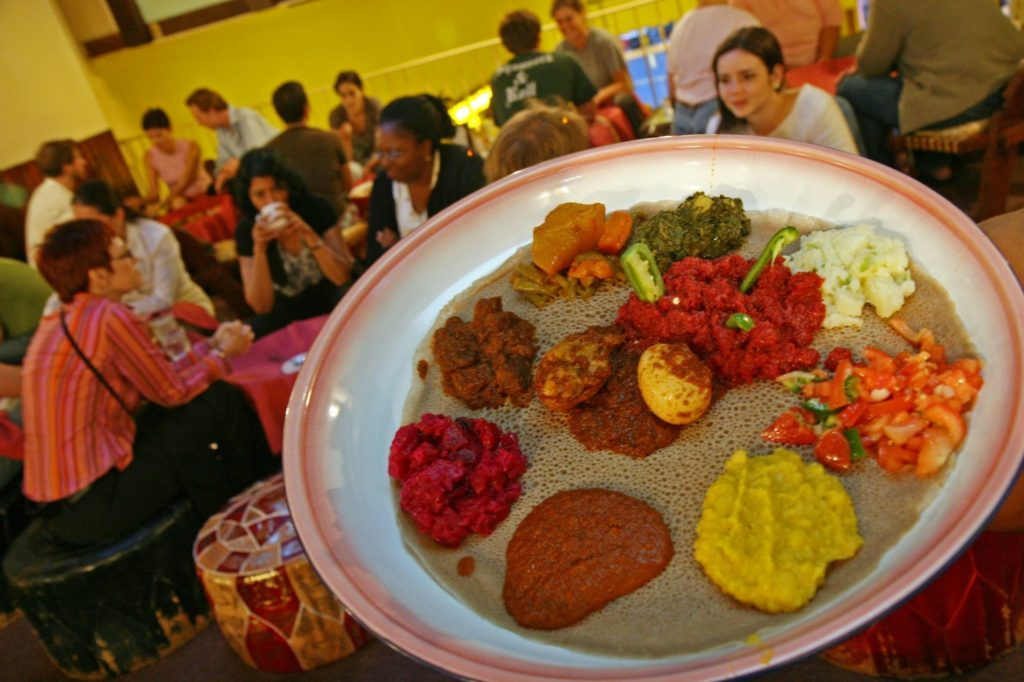 With its colorful combination plates and tangy injera, Meskerem offered many locals their first taste of Ethio­pian food. (Sarah L. Voisin/The Washington Post)