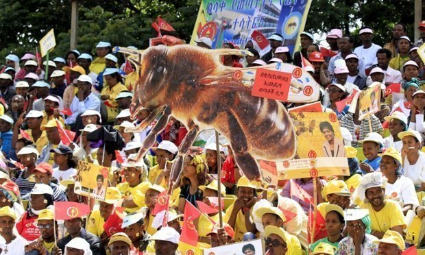 An election rally staged by the Ethiopian People's Revolutionary Democratic Front in Addis Ababa. There is widespread public indifference about the poll. Photograph: Tiksa Negeri/Reuters