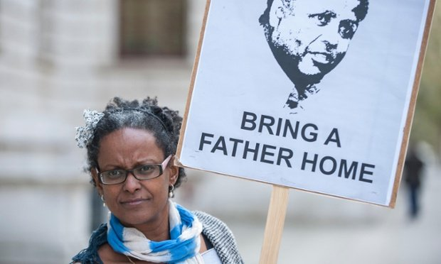 Yemi Hailemariam outside the Foreign Commonwealth Office to demand the release of her partner, Andargachew Tsege, who is being held in in Ethiopia. Photograph: Alamy