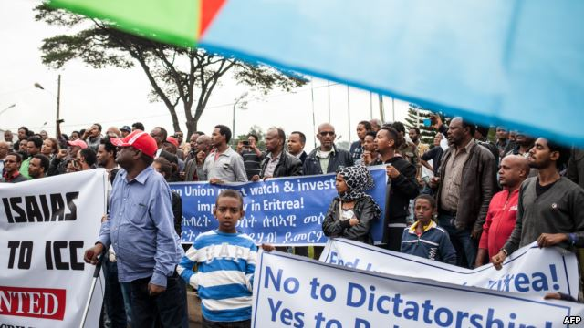 Hundreds of Eritreans demonstrate in front of the African Union headquarters in support of the UN Inquiry report and asking for measures to be taken against Eritrea on June 26, 2015 in Addis Ababa.