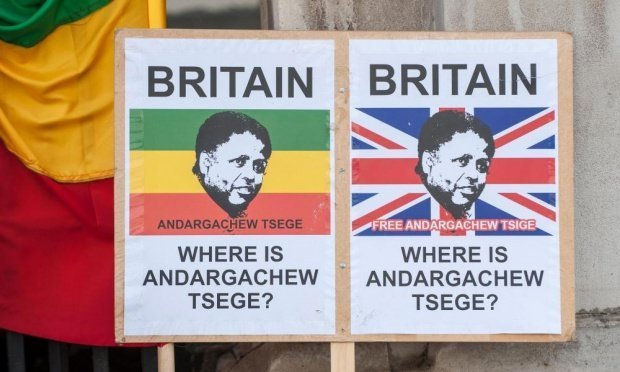 Placards demand the immediate release of UK citizen Andargachew Tsige, also sometimes spelled Tsege, who was given a death sentence in his absence. Photograph: Alamy