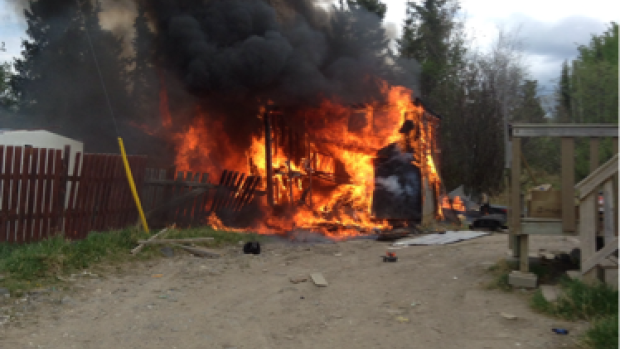 Chasity Spence saved four children from this burning shed on Nisichawayasihk Cree Nation on Saturday. (Arnold Culley)