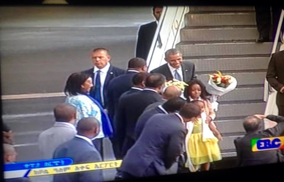 Obama's arrival at Bole International Air port,  Addis Ababa  Photo : Screenshot from EBC video