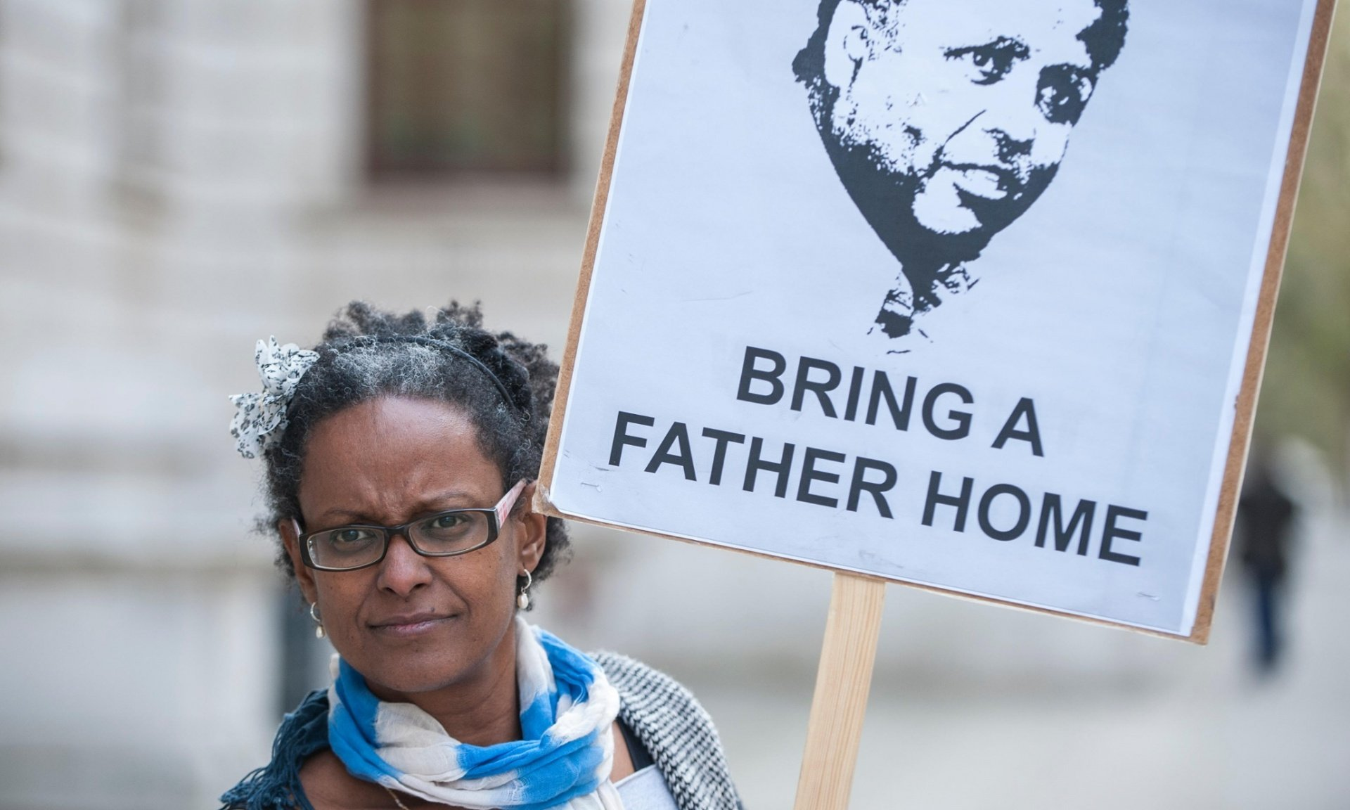 Yemi Hailemariam campaigns in London to demand the immediate release of her partner, British citizen Andargachew Tsege, who has been held in Ethiopia since June 2014. Photograph: Alamy