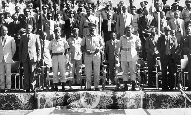 Addis Ababa, December 1974: Ethiopia's Derg leaders, who deposed emperor Haile Selassie in September 1974. Photograph: J. M. Blin/AFP/Getty Images  via The Guardian