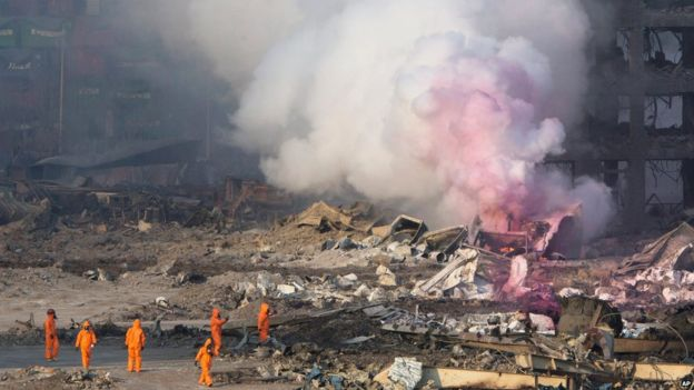 "China : Warehouse blast rocks N China port city, 2 firefighters ""out of contact"""
