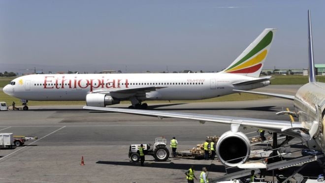 An Ethiopian airliner - the stowaway reportedly had an airport staff badge