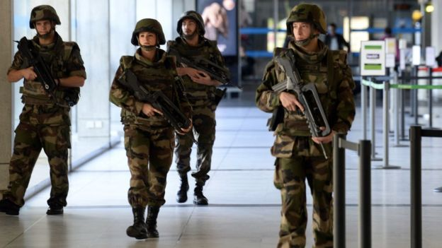 French security forces are now on the highest state of alert .  Credit : BBC