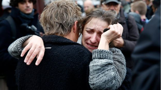 Terrorist attack in Paris claimed the lives of well over 120 people ; World stands with France