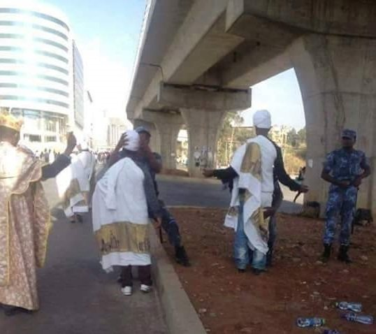 priests and deacons randomly checked  ,apparently on grounds of suspicion for possession of arms  in the Capital Addis Ababa yesterday  Source : Social Media