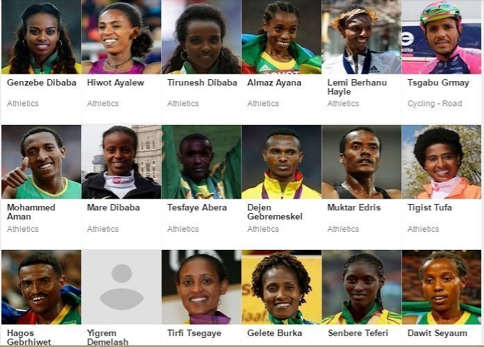 Some of  Team Ethiopia members at Rio 2016 Source : Screenshot from Rio2016.com